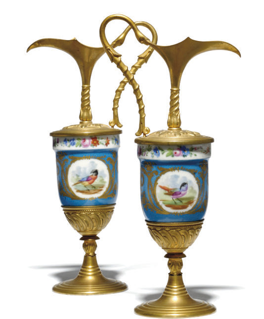 A PAIR OF SEVRES-STYLE PORCELA