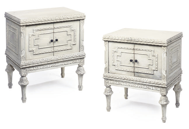 A PAIR OF WHITE PAINTED BEDSID