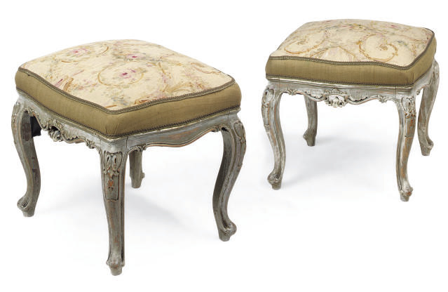 A PAIR OF GREY PAINTED STOOLS