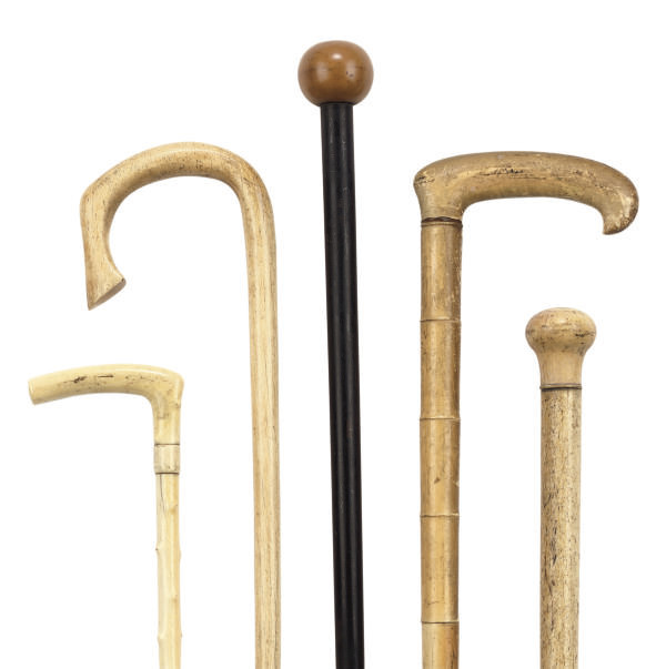 A COLLECTION OF WHALE-BONE OR IVORY WALKING STICKS , 19TH