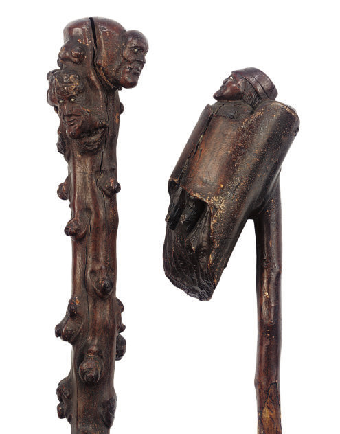 TWO CARVED WOOD FOLK-ART WALKI