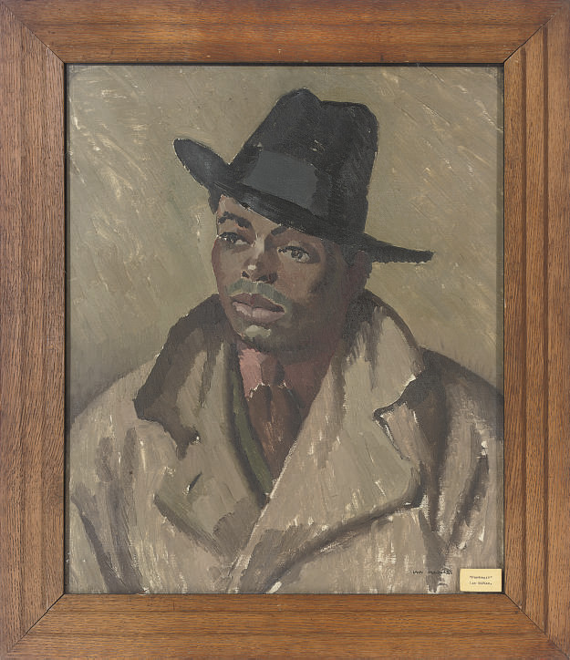 Portrait of a gentleman, bust-length, in a trench coat and hat