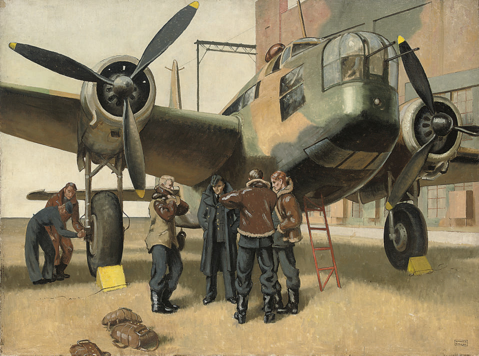 Return, Wellington Bomber and crew after a mission