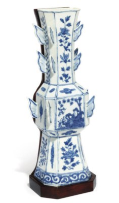 A CHINESE BLUE AND WHITE WALL