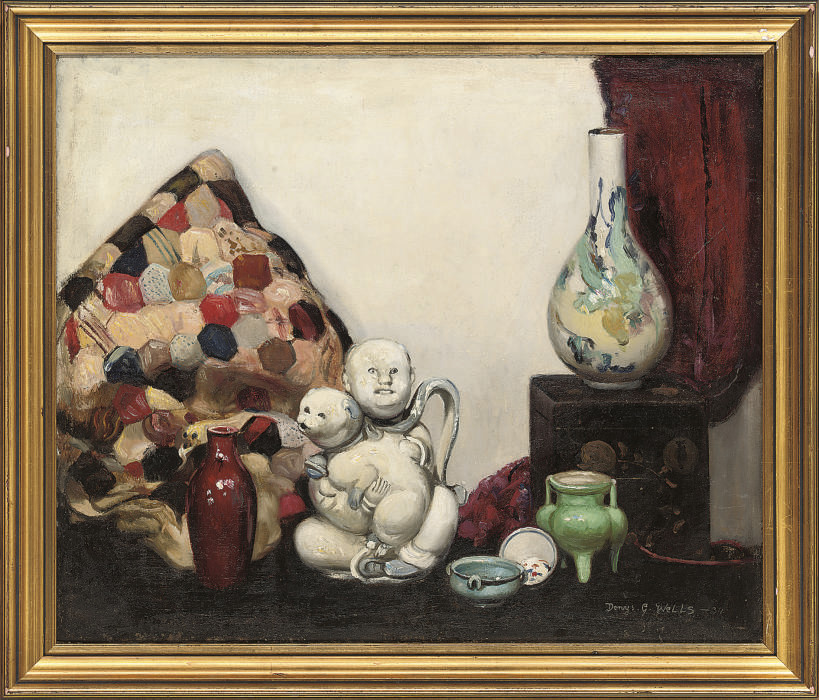 The oriental teapot; and Still life of wine and fruit