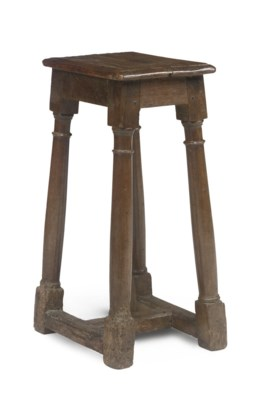 A FRENCH OAK TALL JOINED STOOL