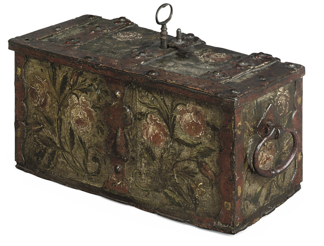 A SOUTH GERMAN PAINTED WROUGHT-IRON STRONG BOX