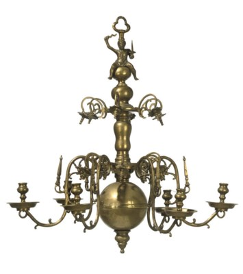 A GERMAN BRASS SIX-lIGHT CHAND