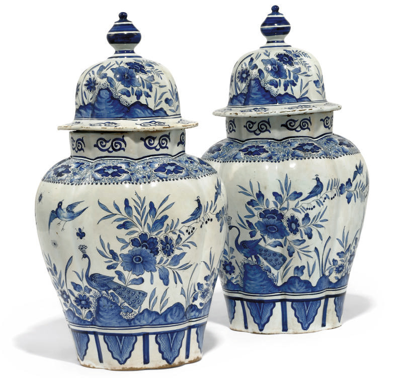 A PAIR OF DUTCH DELFT LARGE LOBED VASES AND COVERS