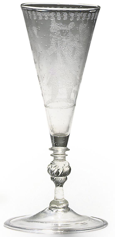 A FACON-DE-VENISE DIAMOND-POINT-ENGRAVED FLUTE