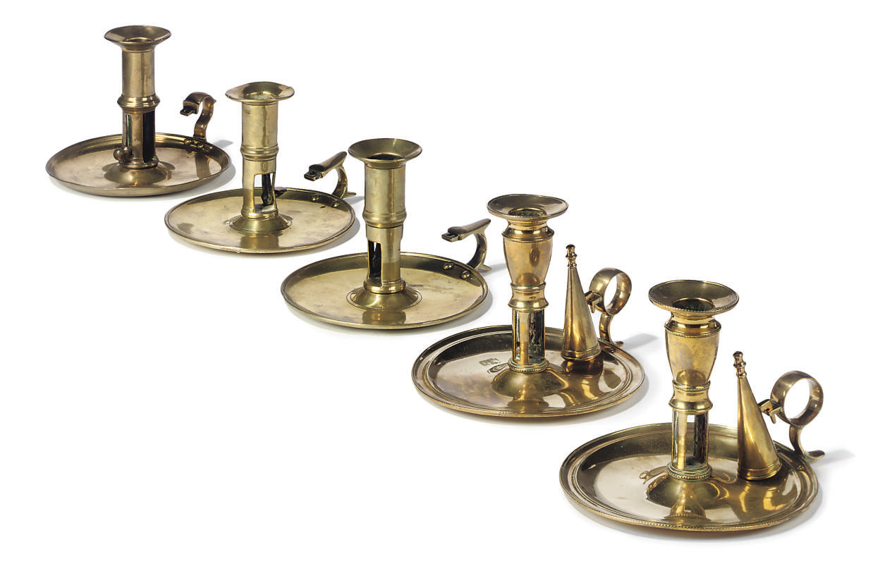 A PAIR OF ENGLISH BRASS CHAMBE