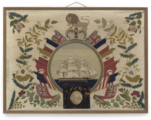 A VICTORIAN WOOLWORK SHIPS PIC