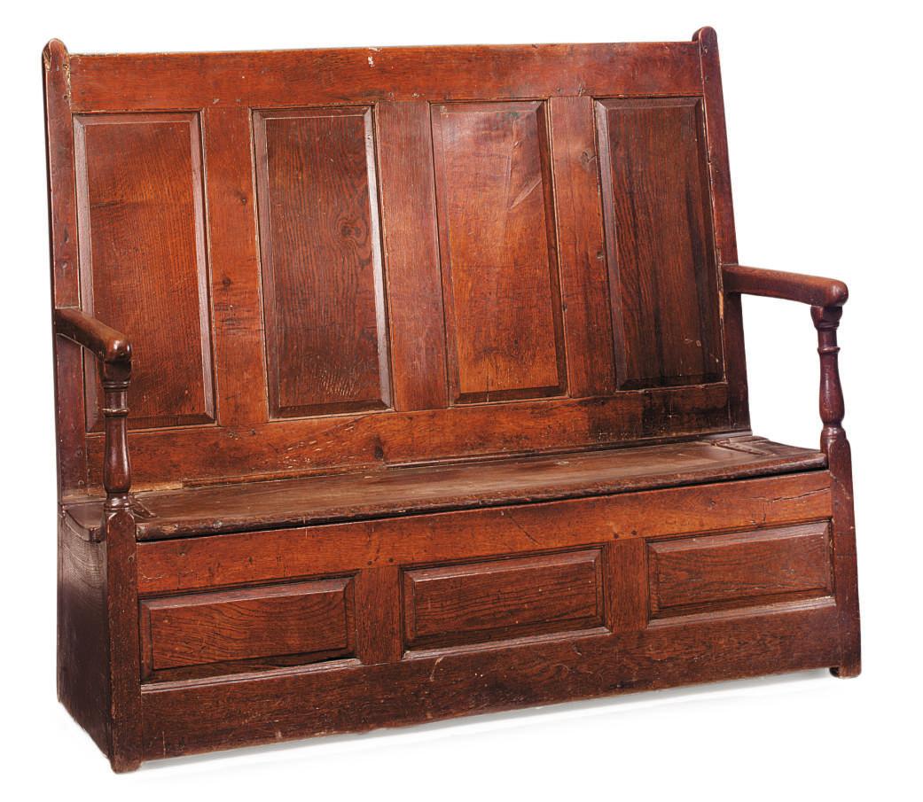 A WELSH OAK BOX-SEAT SETTLE