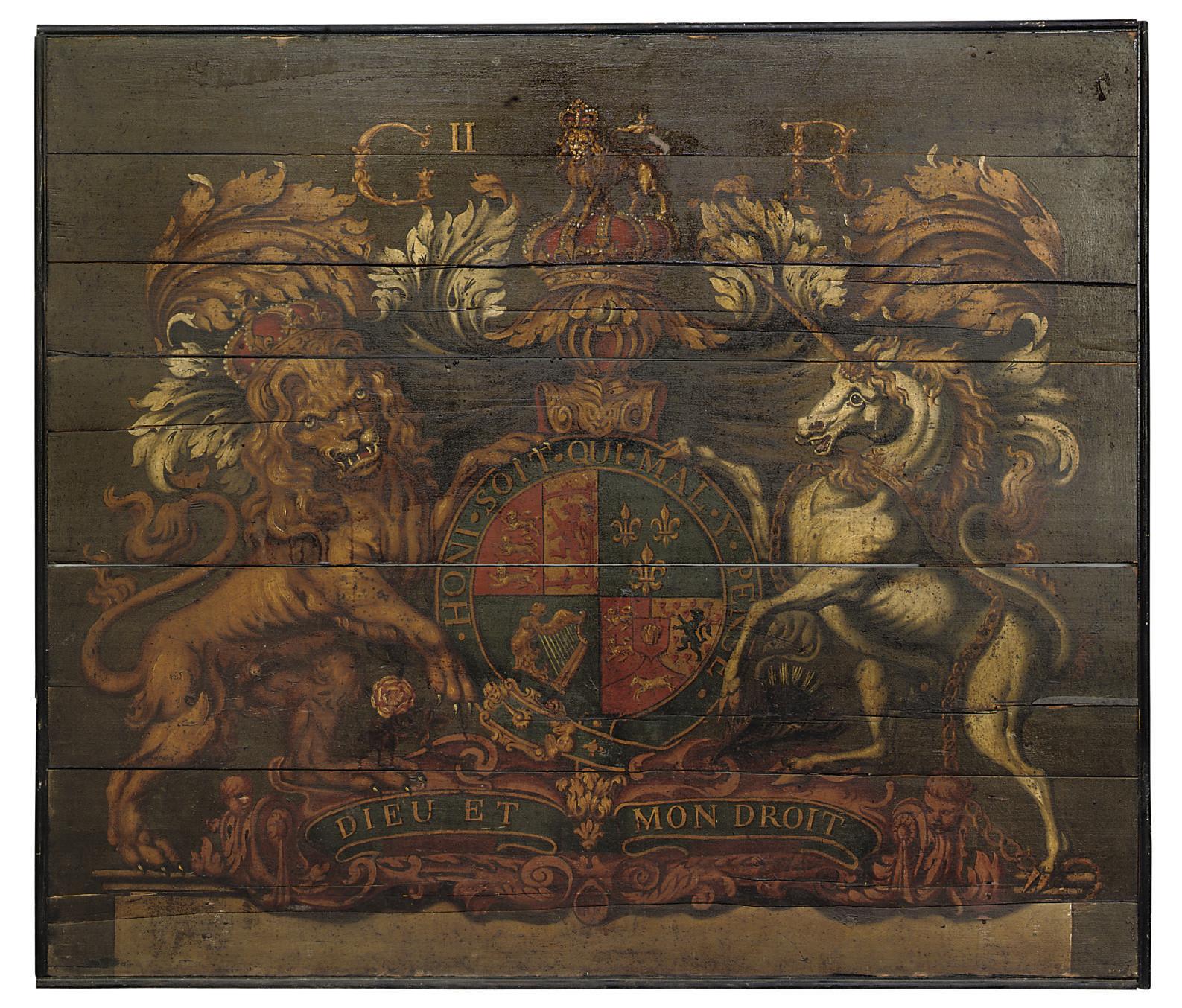A GEORGE II PAINTED WOOD ROYAL