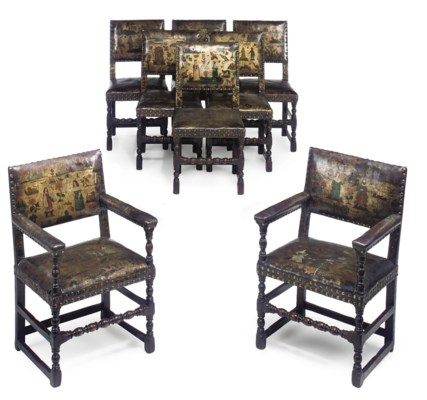 A SET OF EIGHT OAK-FRAMED AND
