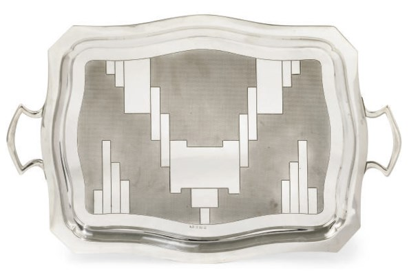 AN ART DECO SILVER TWO-HANDLED