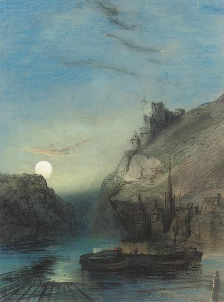Moon rising over the Rhine