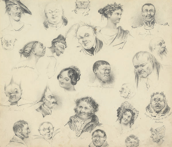 A sheet of caricatures and portraits