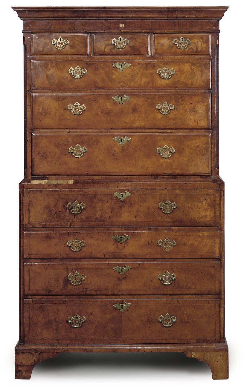 A GEORGE II WALNUT SECRETAIRE