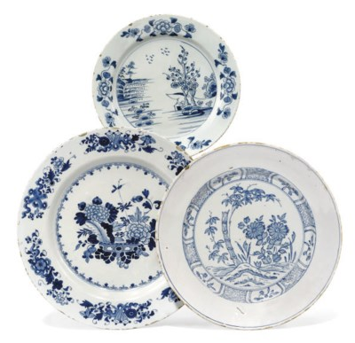 THREE ENGLISH DELFT BLUE AND W