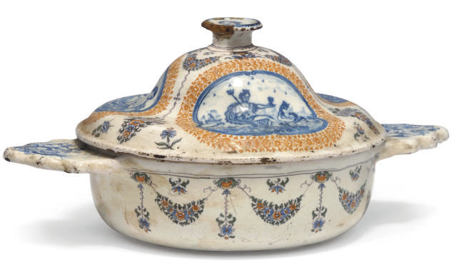 A FRENCH FAIENCE TWO-HANDLED E