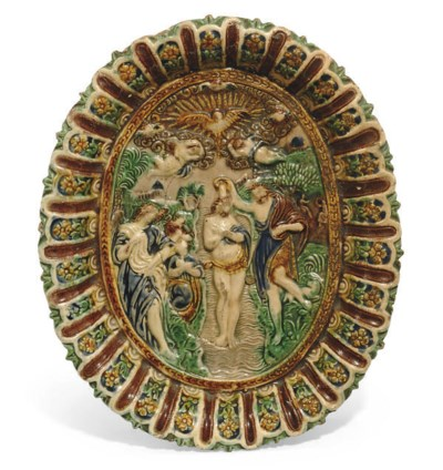 A PALISSY WARE OVAL DISH