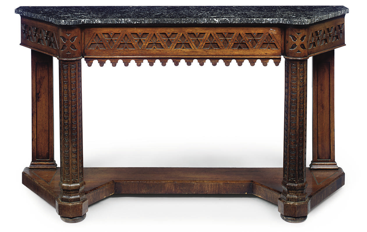 A VICTORIAN OAK CONSOLE TABLE
