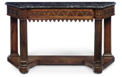 A VICTORIAN OAK CONSOLE TABLE