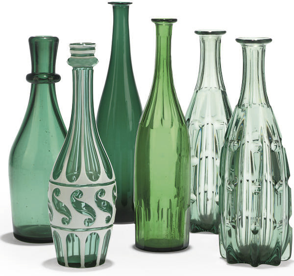 A COLLECTION OF SIX GLASS BOTT
