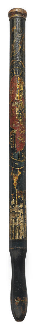 A GEORGE III PAINTED WOOD TRUN