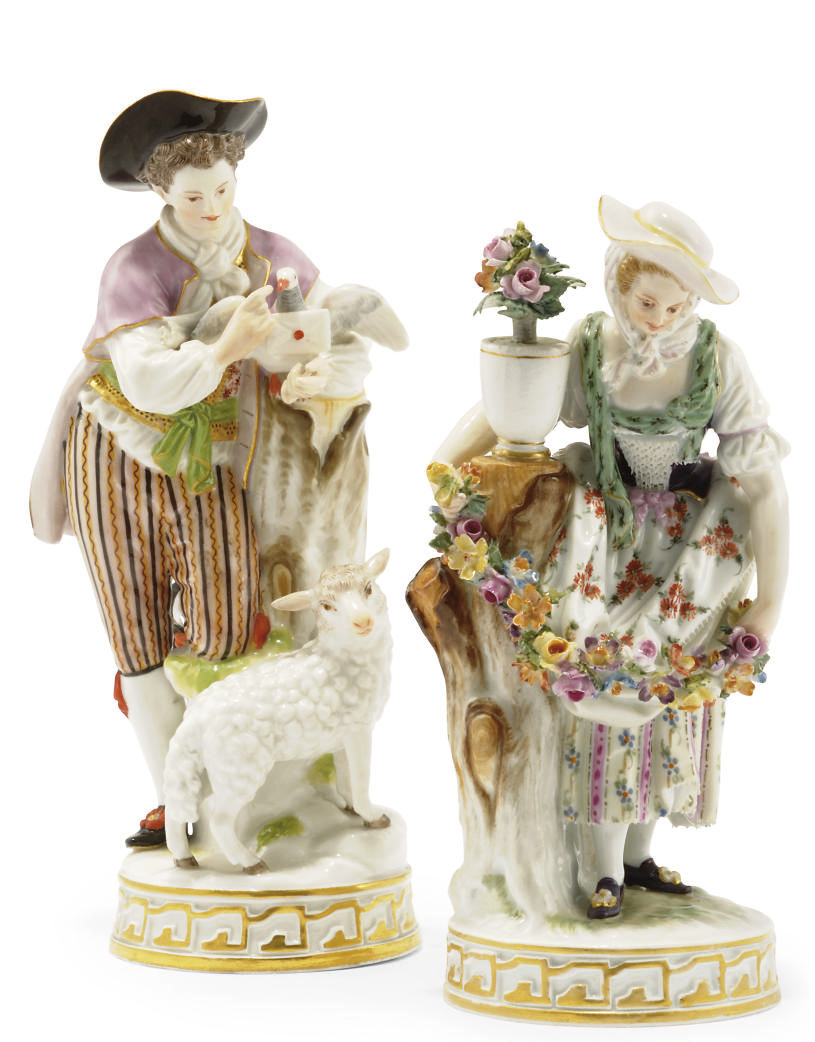 A MEISSEN FIGURE OF A SHEPHERD