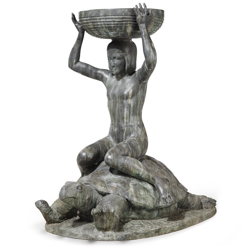 A BRONZE FOUNTAIN IN THE FORM