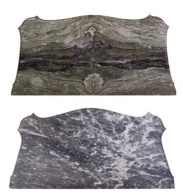 TWO SERPENTINE MARBLE TOPS