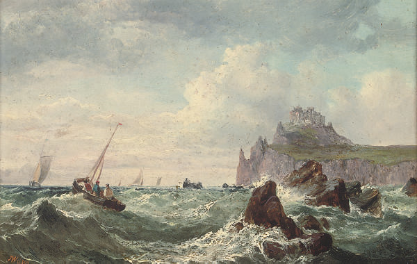 Fishing boats below a fortified headland