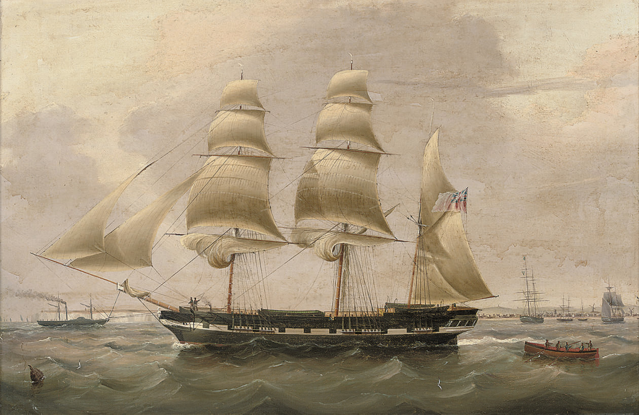 A three-masted barque in The Downs, with Walmer Castle and the town of Deal off her stern