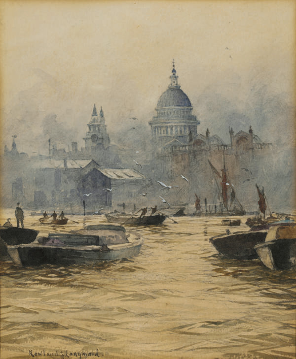 Shipping on the Thames with St Paul's Cathedral behind
