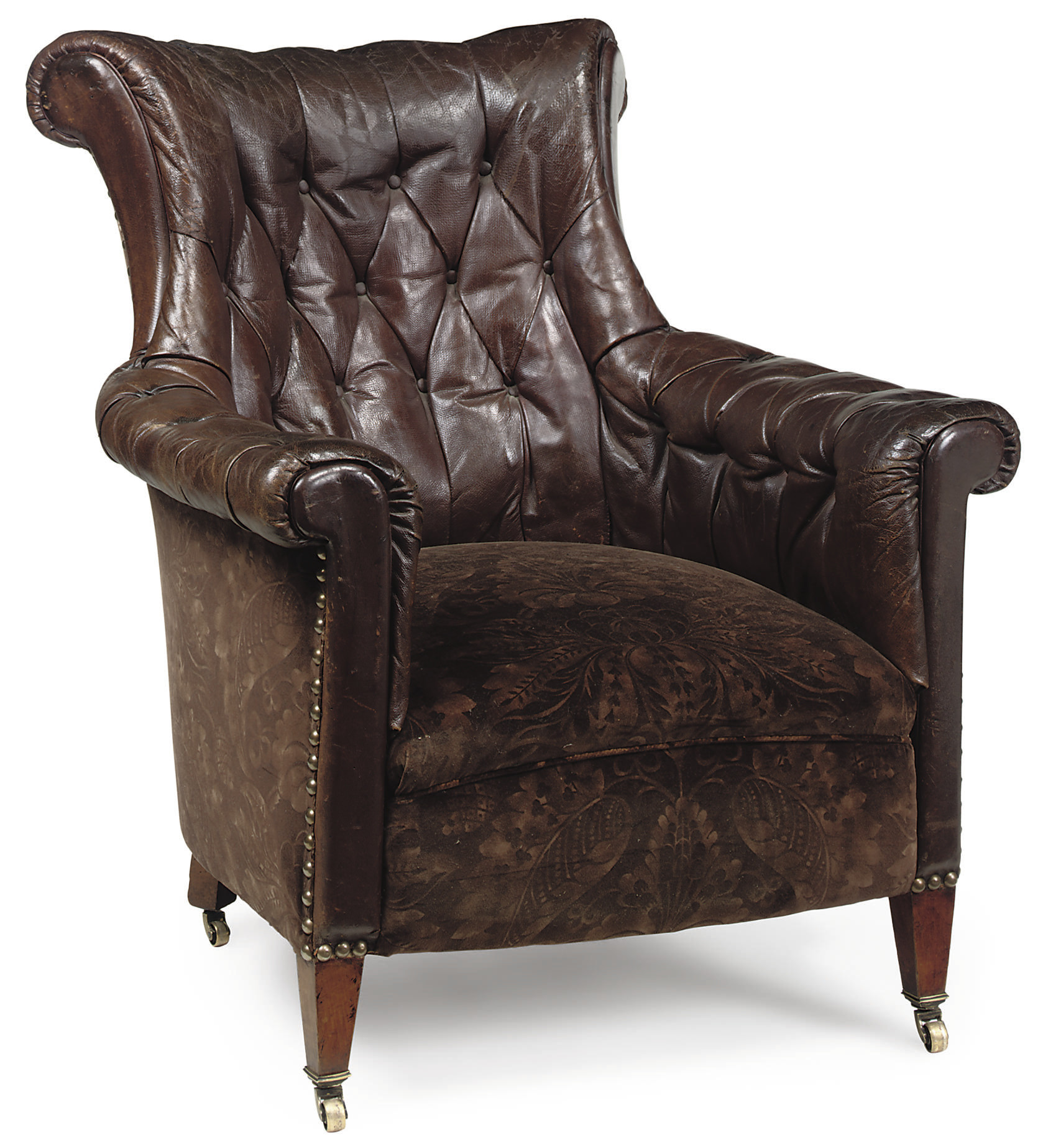 A FRENCH LEATHER ARMCHAIR