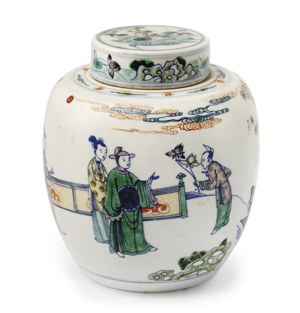 A CHINESE DOUCAI JAR AND COVER