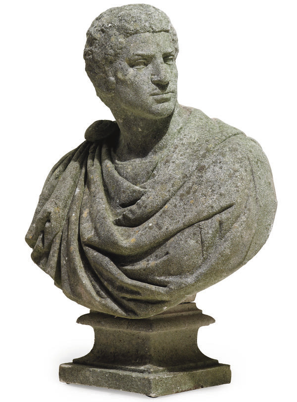 A COMPOSITION-STONE BUST OF BR