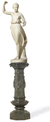 A WHITE MARBLE FIGURE OF A HEB