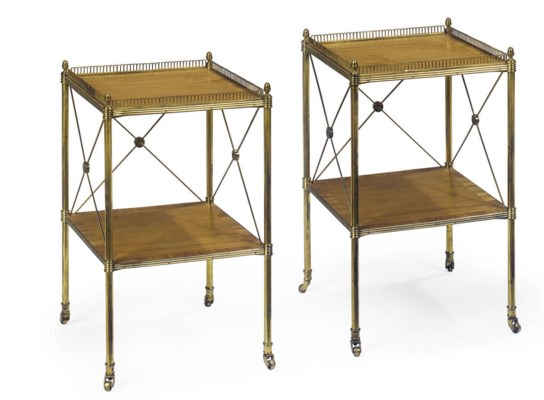 A PAIR OF BRASS AND SATINWOOD