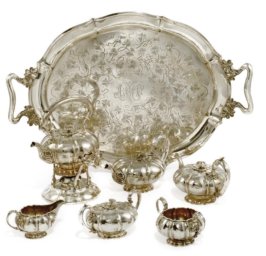 A COMPOSITE GEORGE IV/WILLIAM IV IRISH THREE-PIECE TEA SET