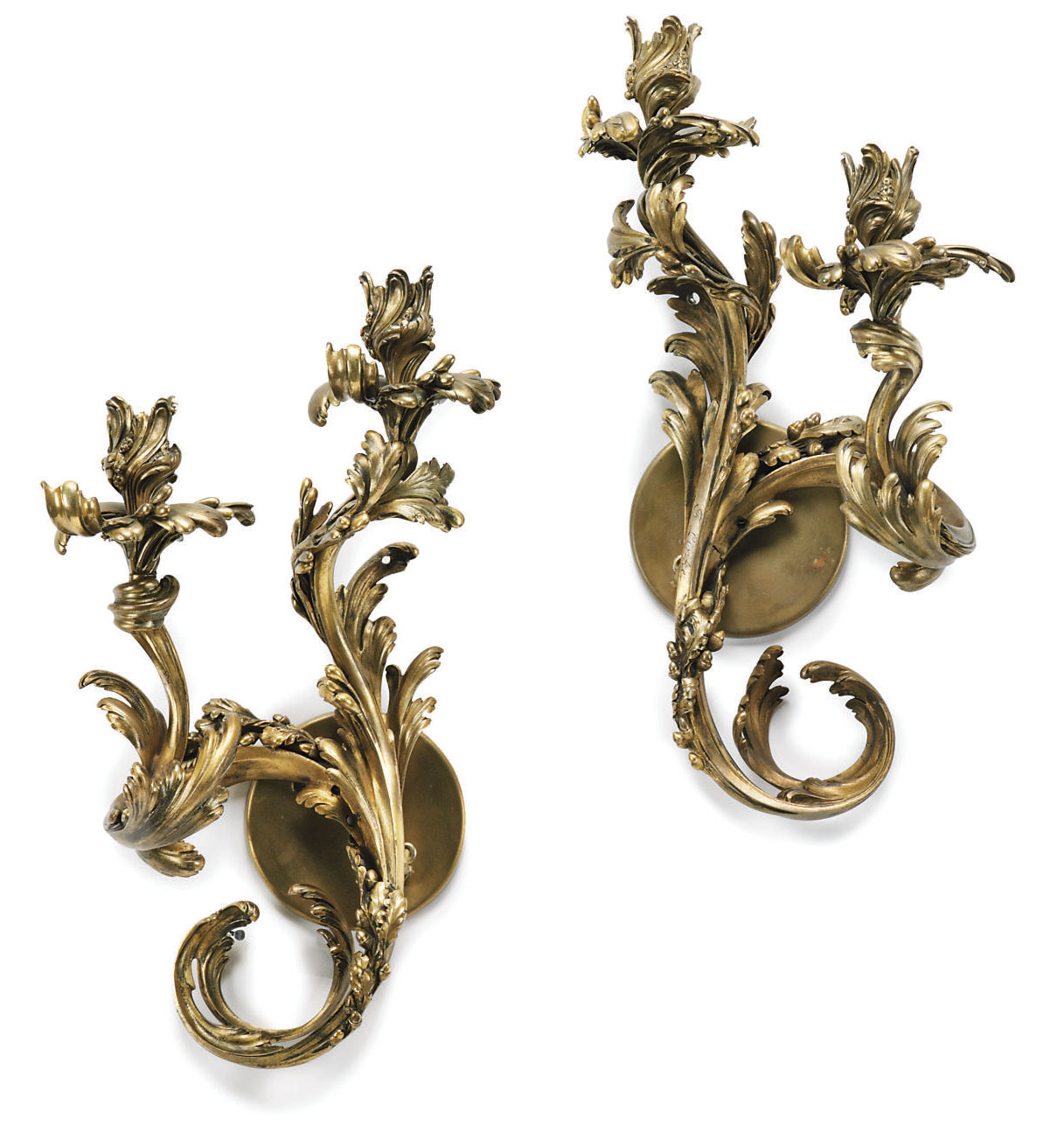 A PAIR OF GILT-BRONZE TWIN-LIG