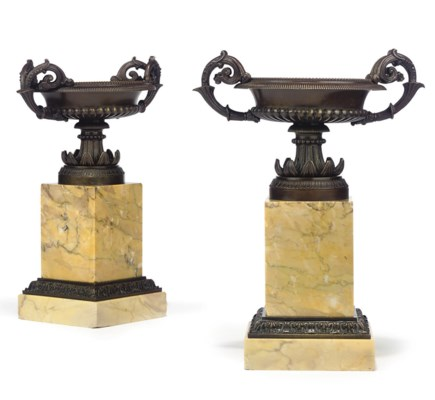 A PAIR OF FRENCH BRONZE AND SI