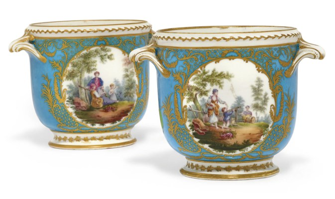 A NEAR PAIR OF SEVRES BLEU CEL