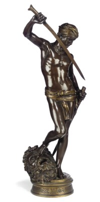 A FRENCH BRONZE FIGURE OF 'DAV