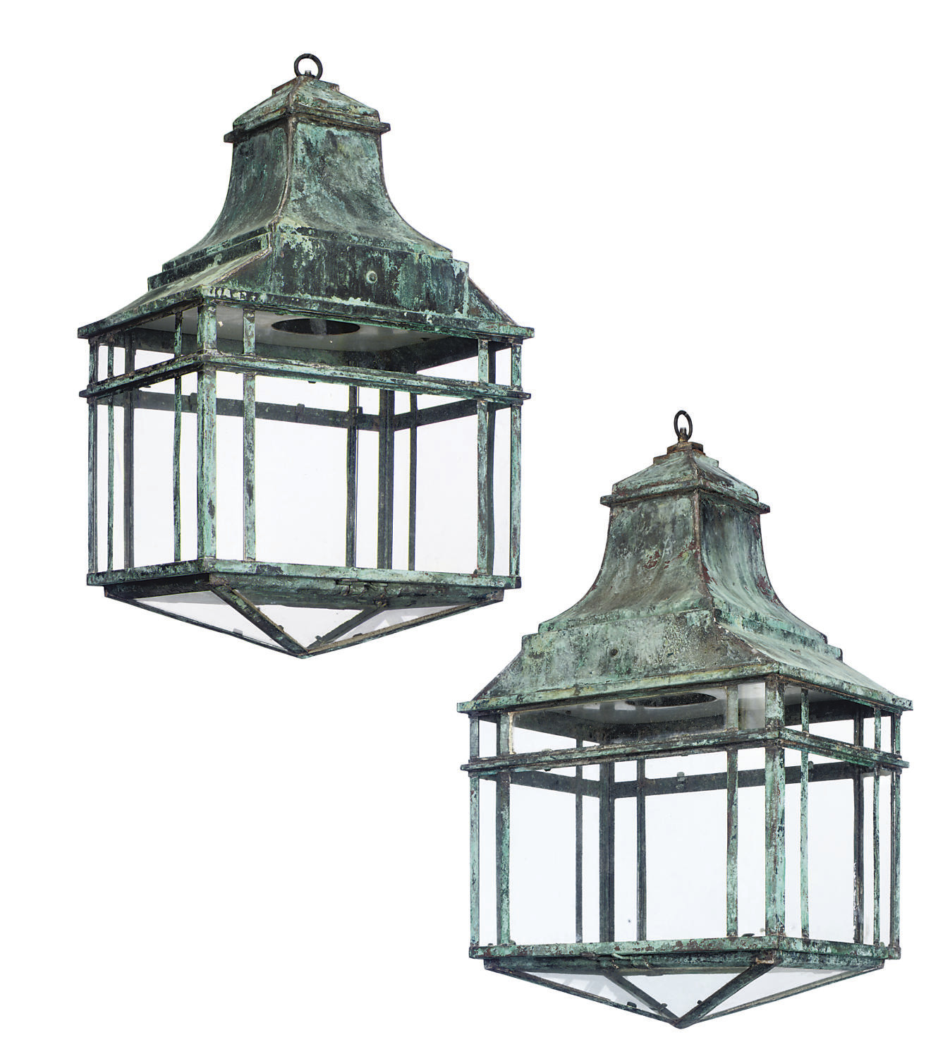 A PAIR OF PATINATED COPPER LAN
