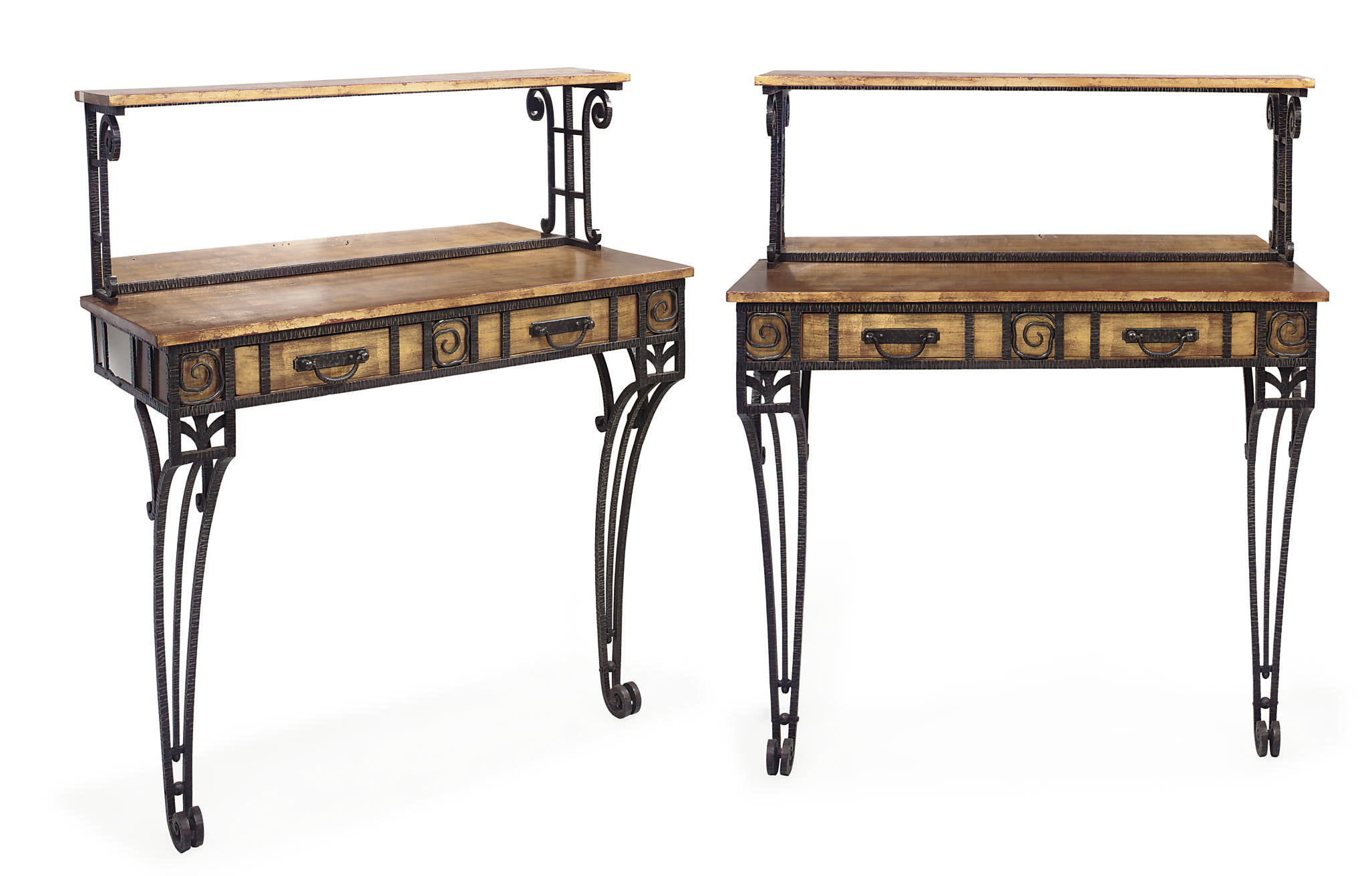 A PAIR OF FRENCH GILT AND IRON