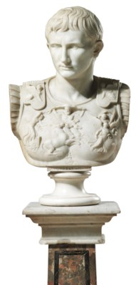 A WHITE MARBLE BUST OF CAESAR