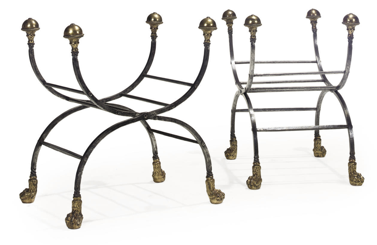 A PAIR OF WROUGHT-IRON AND BRA